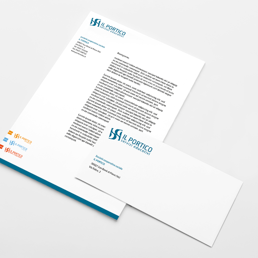 foglio busta con immagine coordinata realizzata per il cliente